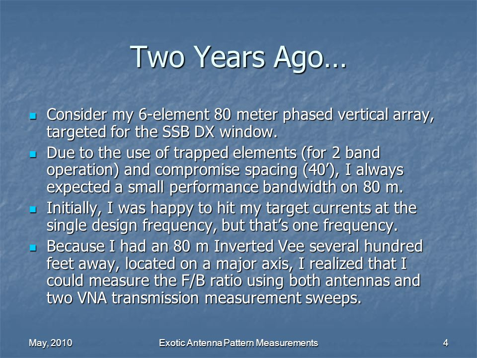 May, 2010Exotic Antenna Pattern Measurements15 Sweep Description Each radio must follow the same frequency list.