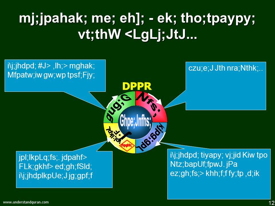 12 www.understandquran.com mj;jpahak; me; eh]; - ek; tho;tpaypy; vt;thW <LgLj;JtJ...