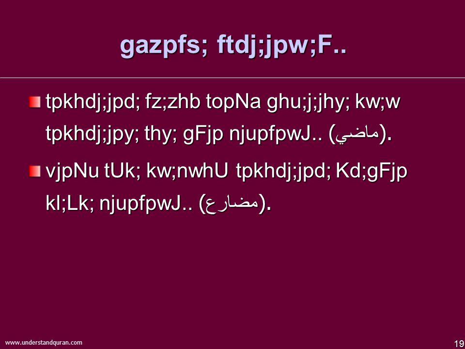19 www.understandquran.com gazpfs; ftdj;jpw;F..