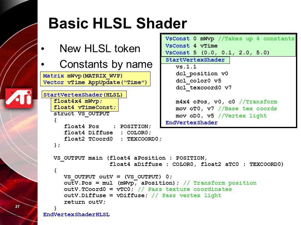 27 VsConst 0 mWvp //Takes up 4 constants VsConst 4 vTime VsConst 5 (0.0, 0.1, 2.0, 5.0) StartVertexShader vs.1.1 dcl_position v0 dcl_color0 v5 dcl_tex