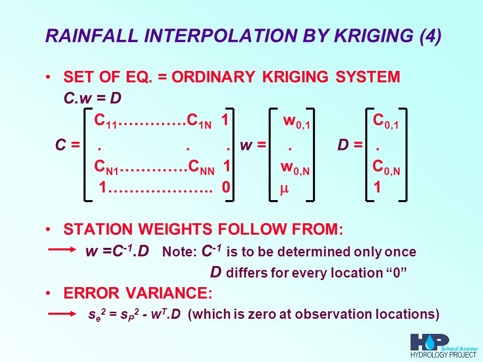 RAINFALL INTERPOLATION BY KRIGING (4) SET OF EQ.