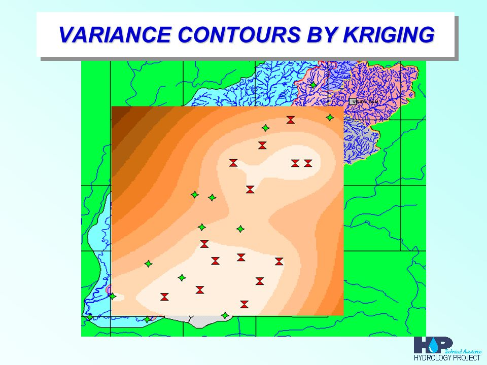 VARIANCE CONTOURS BY KRIGING