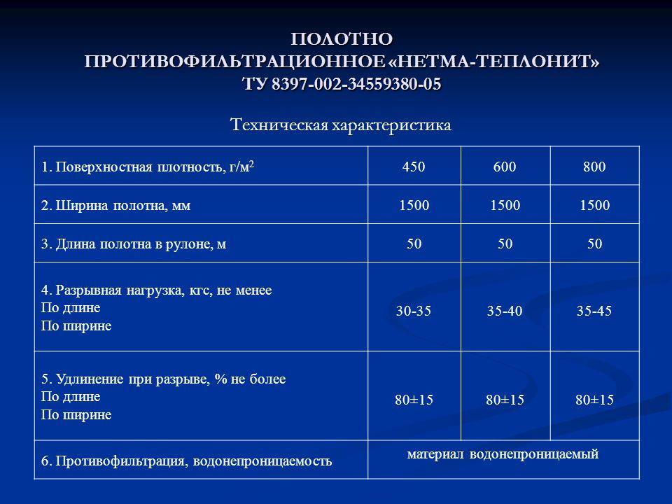 ПОЛОТНО ПРОТИВОФИЛЬТРАЦИОННОЕ «НЕТМА-ТЕПЛОНИТ» ТУ 8397-002-34559380-05 1.