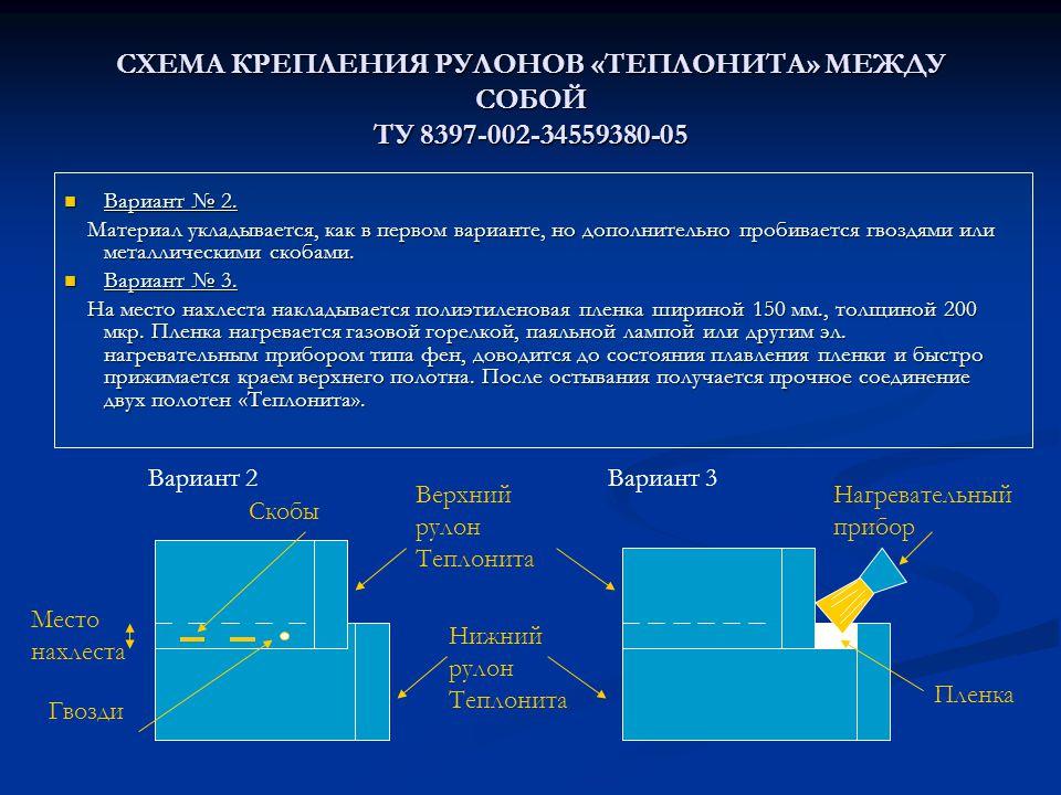Место нахлеста СХЕМА КРЕПЛЕНИЯ РУЛОНОВ «ТЕПЛОНИТА» МЕЖДУ СОБОЙ ТУ 8397-002-34559380-05 Вариант № 2.