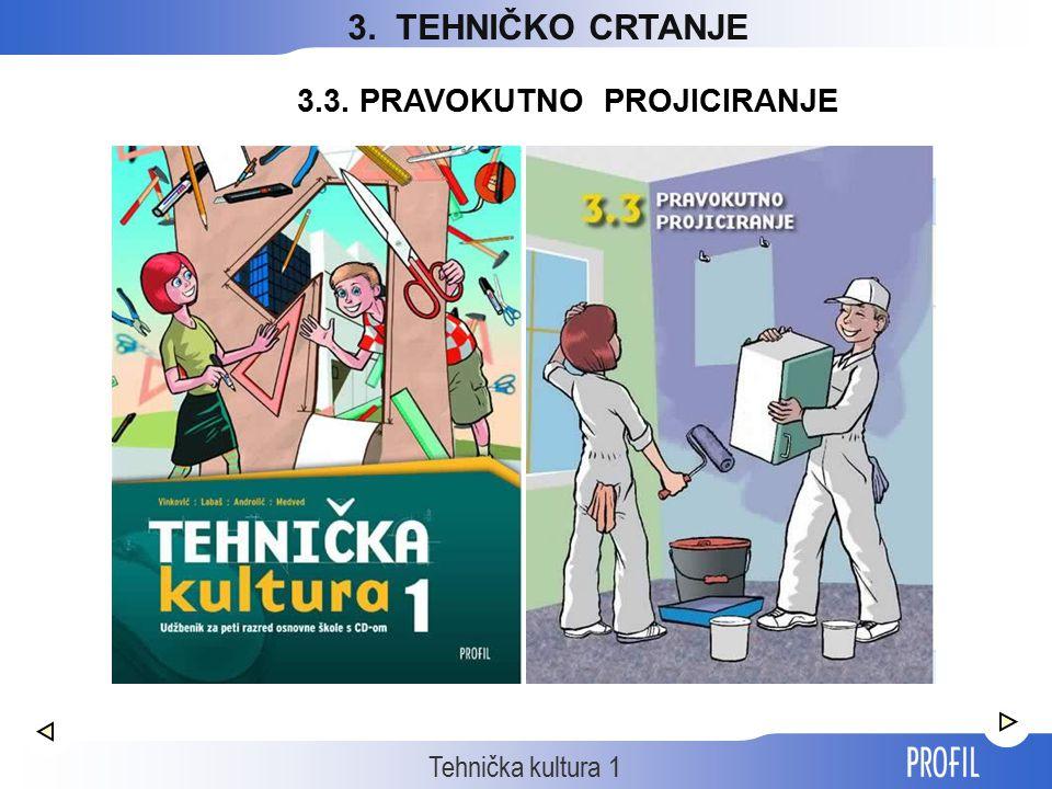 Tehnička kultura 1 3. TEHNIČKO CRTANJE 3.3. PRAVOKUTNO PROJICIRANJE