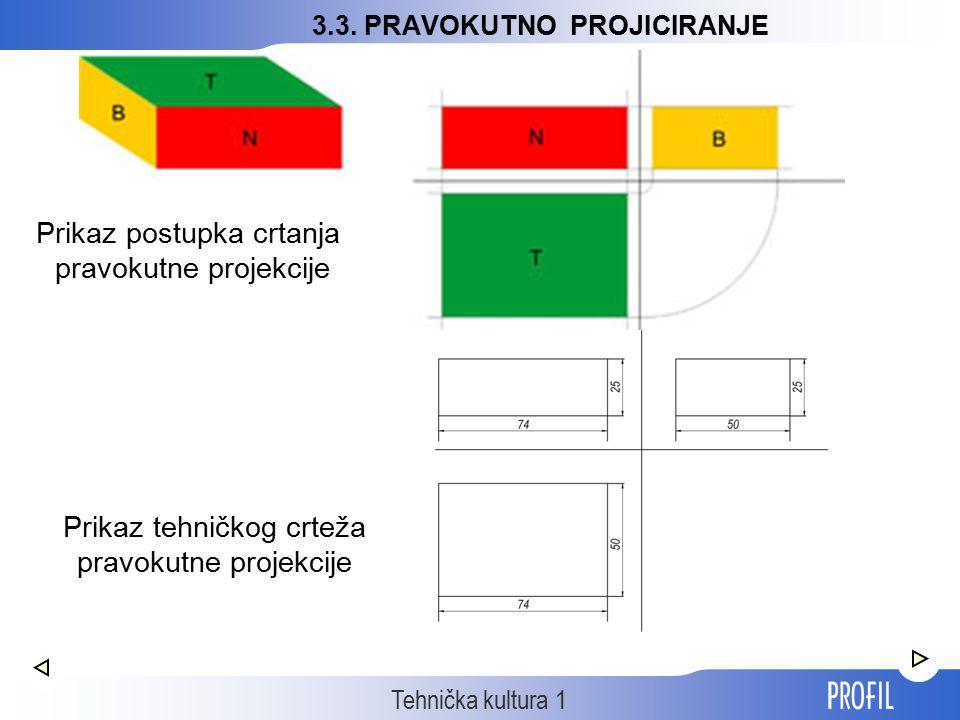 Tehnička kultura 1 Prikaz postupka crtanja pravokutne projekcije Prikaz tehničkog crteža pravokutne projekcije 3.3. PRAVOKUTNO PROJICIRANJE