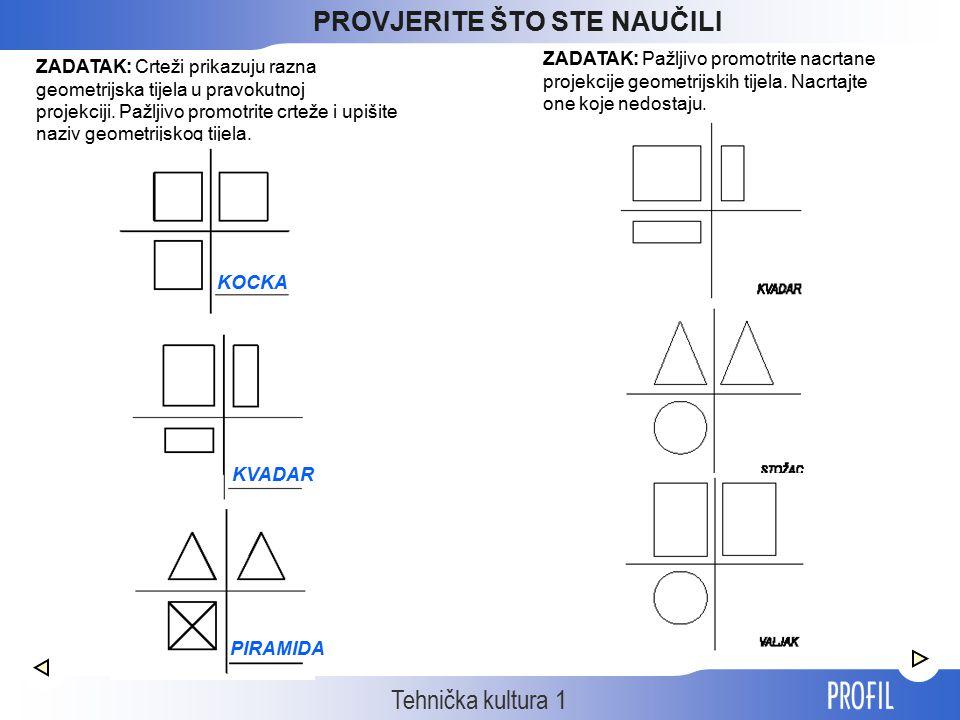 Tehnička kultura 1 ZADATAK: Crteži prikazuju razna geometrijska tijela u pravokutnoj projekciji. Pažljivo promotrite crteže i upišite naziv geometrijs