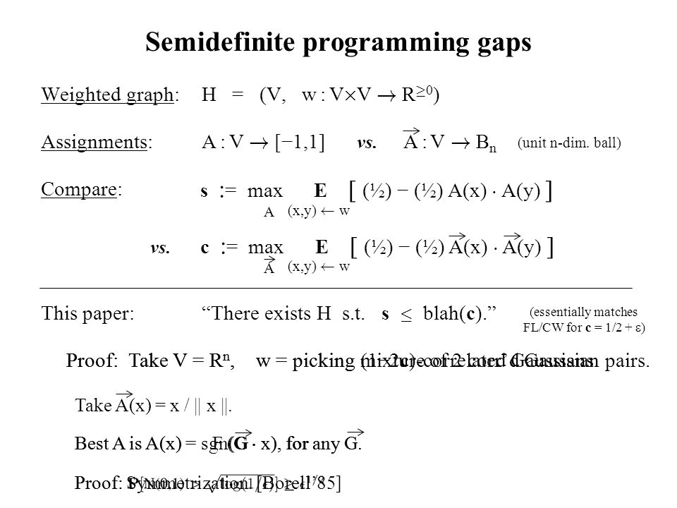 Proof: Semidefinite programming gaps Weighted graph:H = (V, w : V £ V .