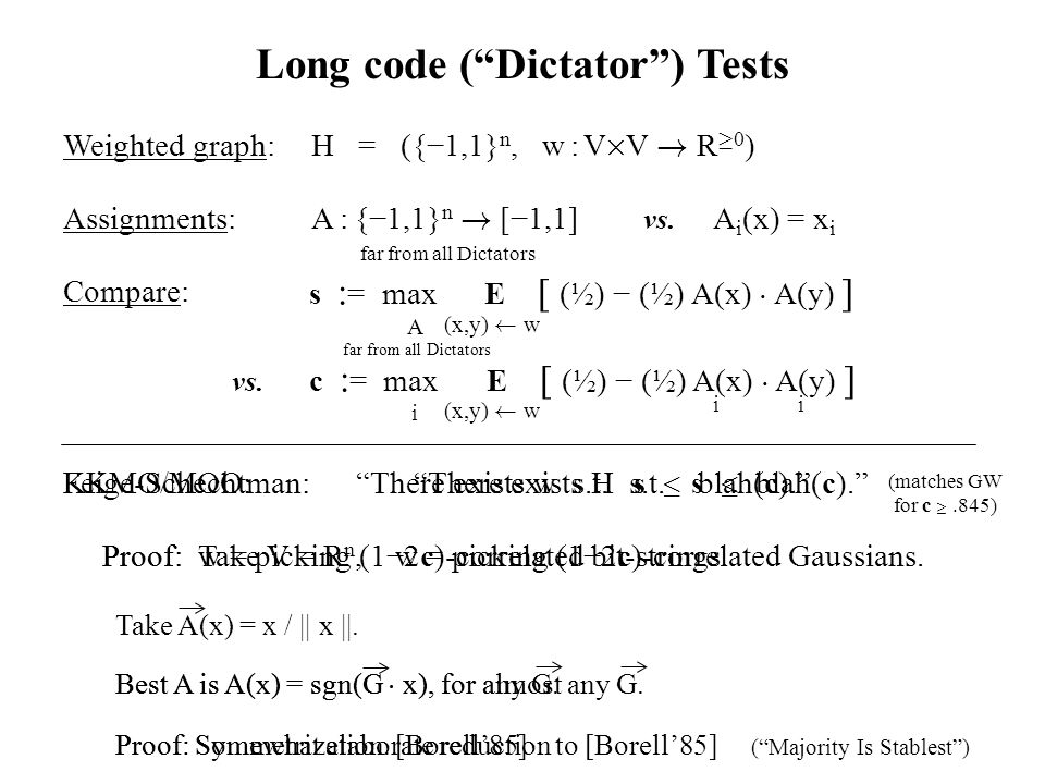 c : = max E [ (½) − (½) A(x) ¢ A(y) ] s : = max E [ (½) − (½) A(x) ¢ A(y) ] A(x,y) Ã w vs.