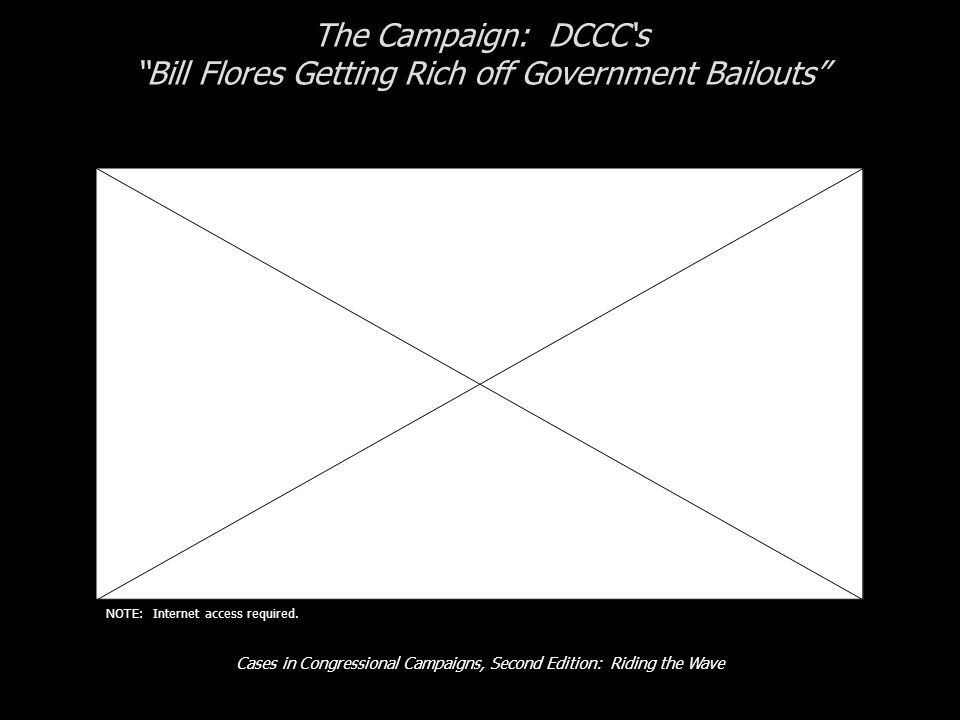 "Cases in Congressional Campaigns, Second Edition: Riding the Wave The Campaign: DCCC's ""Bill Flores Getting Rich off Government Bailouts"" NOTE: Intern"