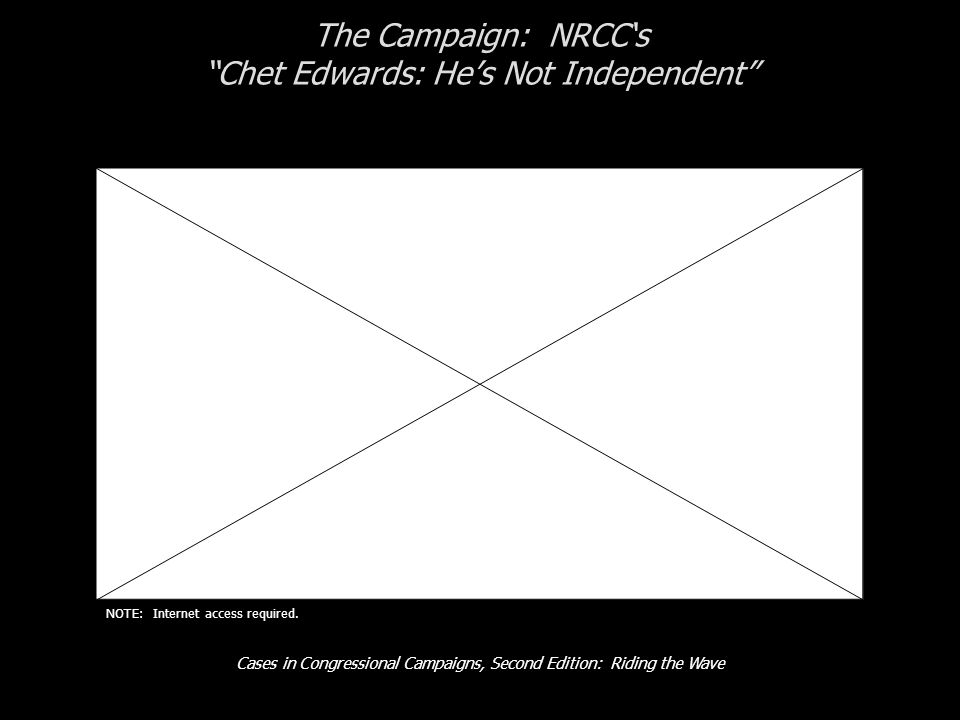 "Cases in Congressional Campaigns, Second Edition: Riding the Wave The Campaign: NRCC's ""Chet Edwards: He's Not Independent"" NOTE: Internet access requ"