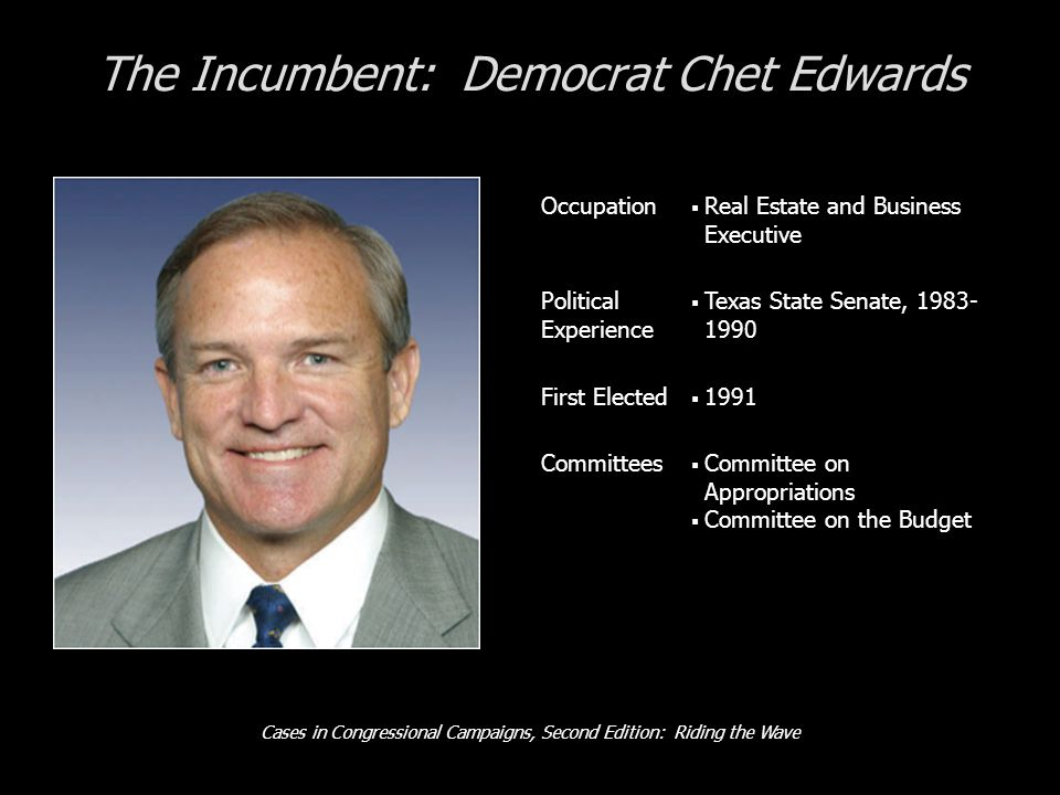 Cases in Congressional Campaigns, Second Edition: Riding the Wave The Incumbent: Democrat Chet Edwards Occupation  Real Estate and Business Executive