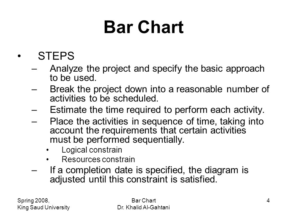 Spring 2008, King Saud University Bar Chart Dr. Khalid Al-Gahtani 4 Bar Chart STEPS –Analyze the project and specify the basic approach to be used. –B