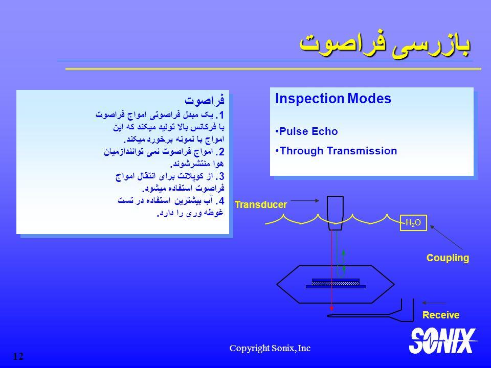 Copyright Sonix, Inc 12 بازرسی فراصوت H2OH2O Transducer Coupling فراصوت 1.