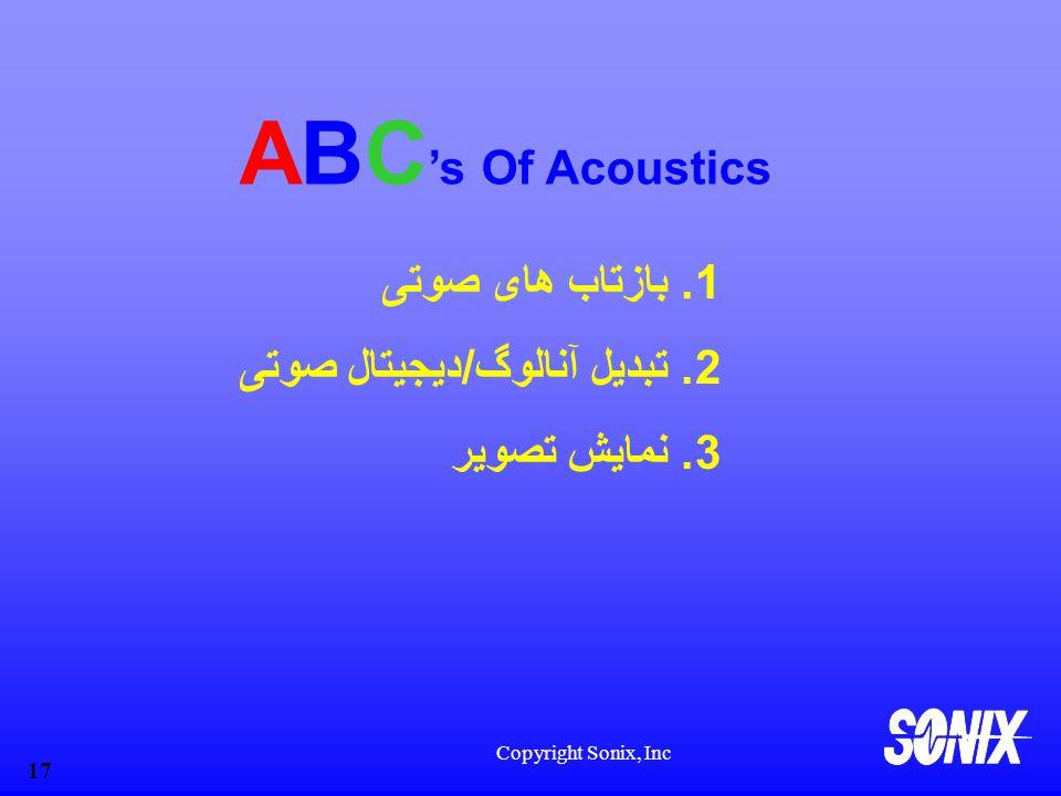 Copyright Sonix, Inc 17 ABC 's Of Acoustics 1.بازتاب های صوتی 2.