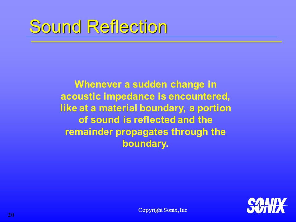 Copyright Sonix, Inc 20 Sound Reflection Whenever a sudden change in acoustic impedance is encountered, like at a material boundary, a portion of soun