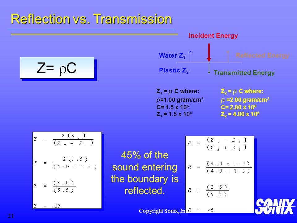 Copyright Sonix, Inc 21 Z 1 =  C where:  =1.00 gram/cm 3 C= 1.5 x 10 6 Z 1 = 1.5 x 10 6 Z 2 =  C where:  =2.00 gram/cm 3 C= 2.00 x 10 6 Z 2 = 4.00 x 10 6 Incident Energy Transmitted Energy Water Z 1 Plastic Z 2 Reflected Energy Z=  C Reflection vs.