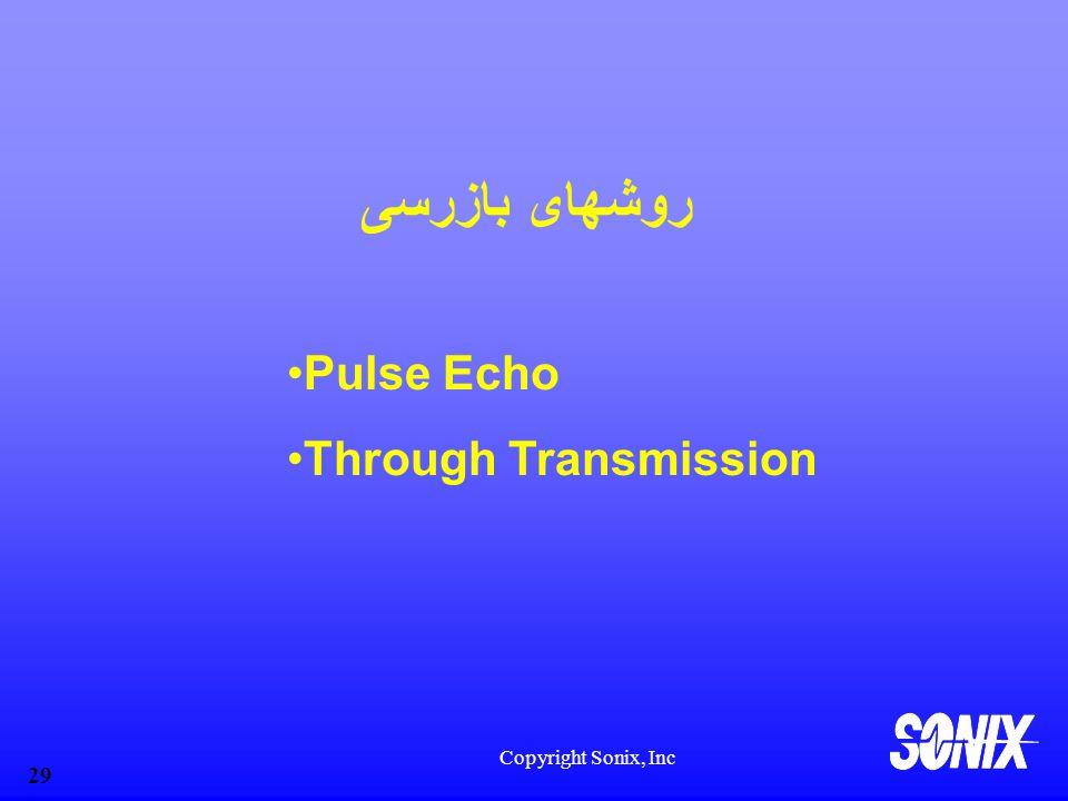 Copyright Sonix, Inc 29 روشهای بازرسی Pulse Echo Through Transmission