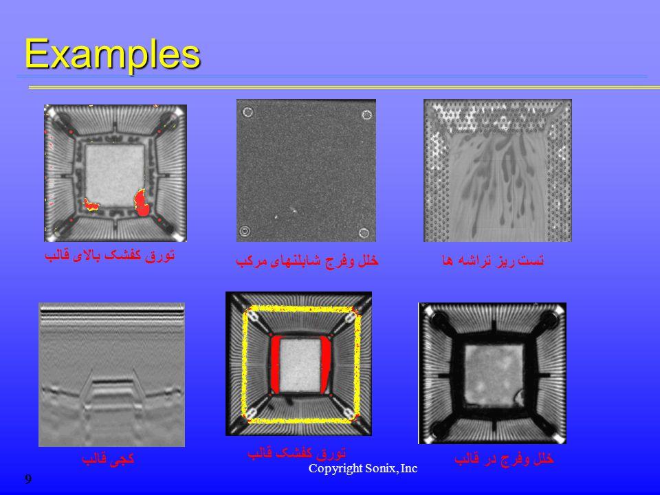 Copyright Sonix, Inc 9Examples خلل وفرج در قالبکجی قالب تورق کفشک قالب خلل وفرج شابلنهای مرکب تورق کفشک بالای قالب تست ریز تراشه ها