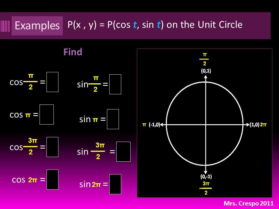 Examples Find Mrs. Crespo 2011 = cos π 2 sin π 2 3π 2 P(x, y) = P(cos t, sin t) on the Unit Circle cos 3π 2 cos π sin π 2π cos 2π2π = = = = = = = 1 0