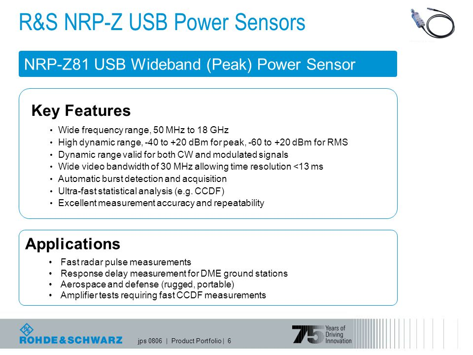 jps 0806   Product Portfolio   6 Applications Fast radar pulse measurements Response delay measurement for DME ground stations Aerospace and defense (rugged, portable) Amplifier tests requiring fast CCDF measurements R&S NRP-Z USB Power Sensors NRP-Z81 USB Wideband (Peak) Power Sensor Key Features Wide frequency range, 50 MHz to 18 GHz High dynamic range, -40 to +20 dBm for peak, -60 to +20 dBm for RMS Dynamic range valid for both CW and modulated signals Wide video bandwidth of 30 MHz allowing time resolution <13 ms Automatic burst detection and acquisition Ultra-fast statistical analysis (e.g.