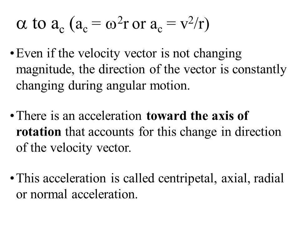 Even if the velocity vector is not changing magnitude, the direction of the vector is constantly changing during angular motion.