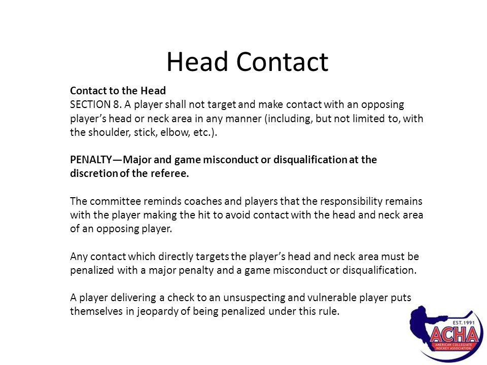 Head Contact Contact to the Head SECTION 8.