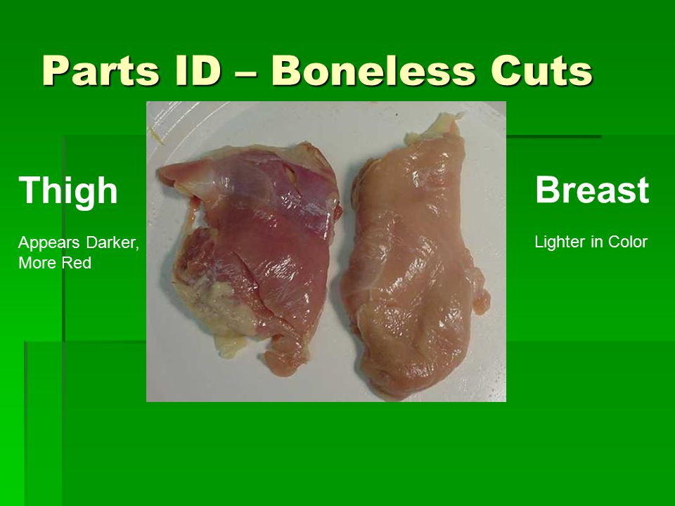 Parts ID – Boneless Cuts Thigh Appears Darker, More Red Breast Lighter in Color
