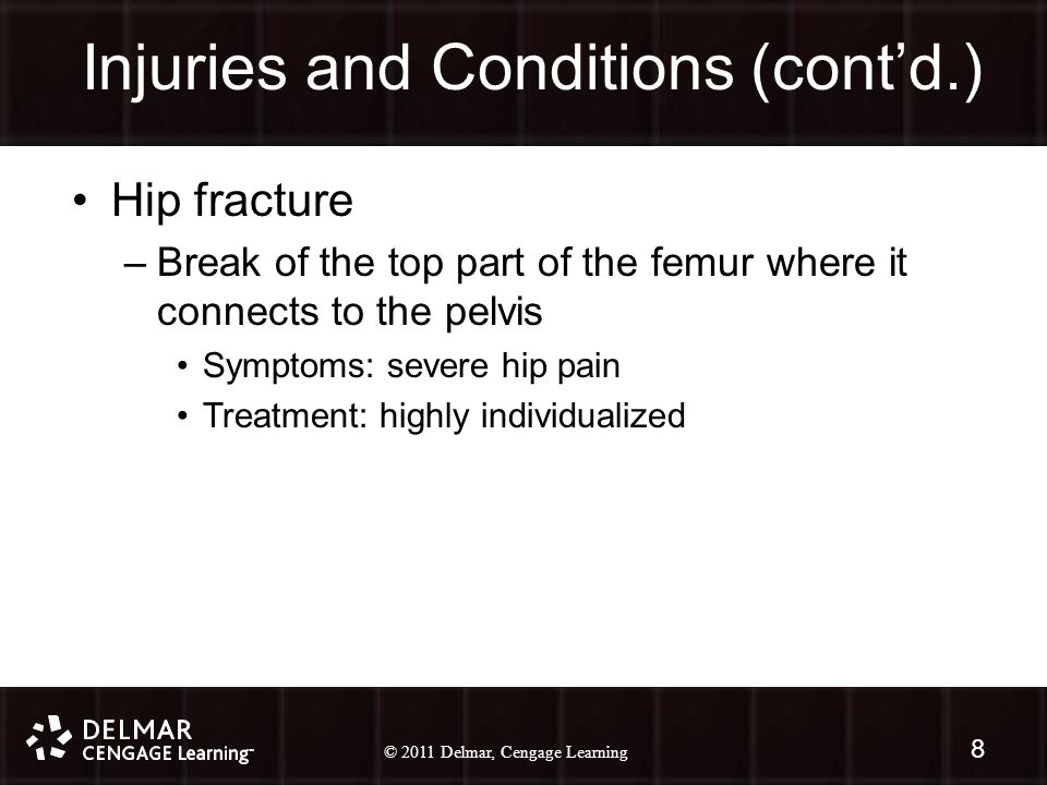 © 2010 Delmar, Cengage Learning 8 © 2011 Delmar, Cengage Learning Injuries and Conditions (cont'd.) 8 Hip fracture –Break of the top part of the femur where it connects to the pelvis Symptoms: severe hip pain Treatment: highly individualized