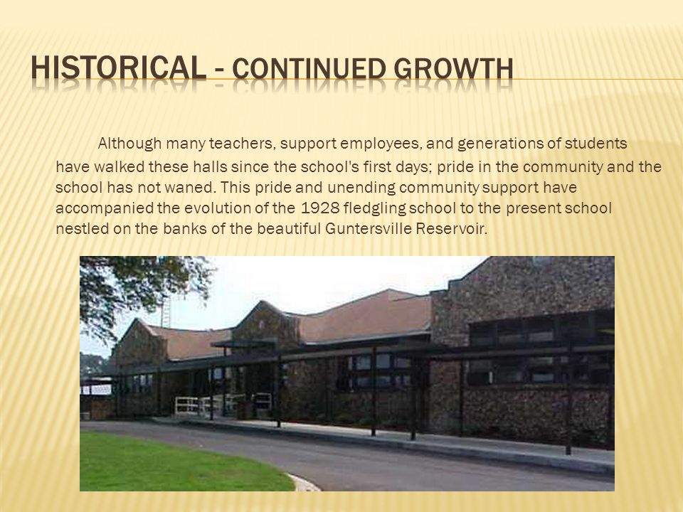 Although many teachers, support employees, and generations of students have walked these halls since the school's first days; pride in the community a