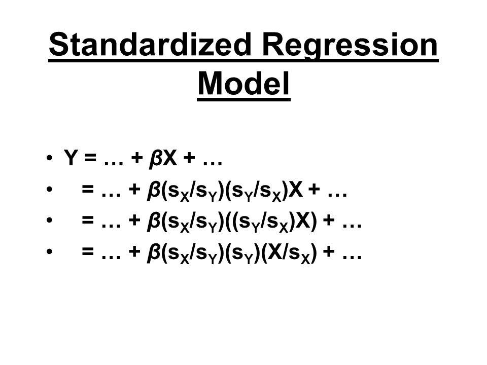 Standardized Regression Model Y = … + βX + … = … + β(s X /s Y )(s Y /s X )X + … = … + β(s X /s Y )((s Y /s X )X) + … = … + β(s X /s Y )(s Y )(X/s X ) + …