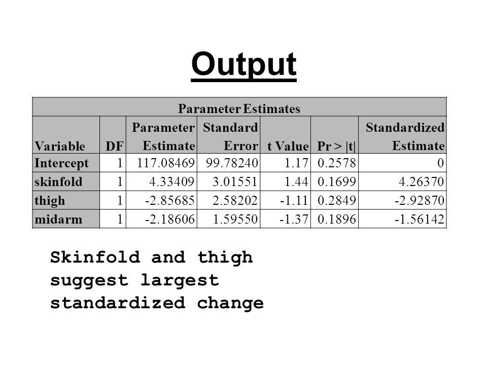 Output Parameter Estimates VariableDF Parameter Estimate Standard Errort ValuePr > |t| Standardized Estimate Intercept1117.0846999.782401.170.25780 skinfold14.334093.015511.440.16994.26370 thigh1-2.856852.58202-1.110.2849-2.92870 midarm1-2.186061.59550-1.370.1896-1.56142 Skinfold and thigh suggest largest standardized change