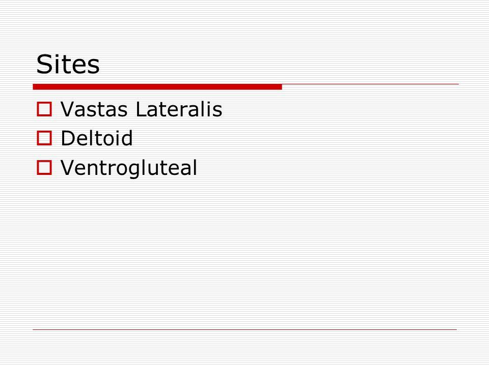 Sites  Vastas Lateralis  Deltoid  Ventrogluteal