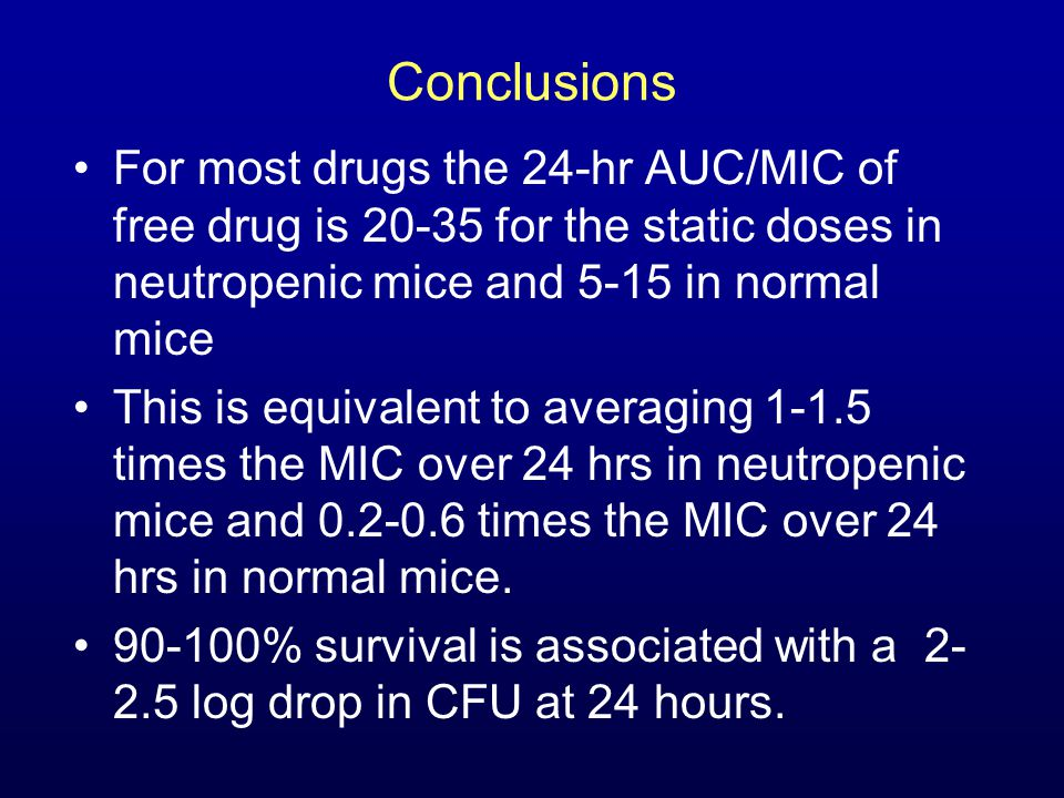 Conclusions For most drugs the 24-hr AUC/MIC of free drug is 20-35 for the static doses in neutropenic mice and 5-15 in normal mice This is equivalent to averaging 1-1.5 times the MIC over 24 hrs in neutropenic mice and 0.2-0.6 times the MIC over 24 hrs in normal mice.