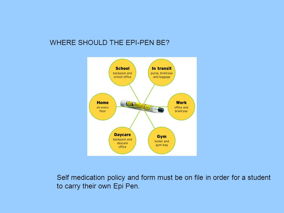 WHERE SHOULD THE EPI-PEN BE? Self medication policy and form must be on file in order for a student to carry their own Epi Pen.