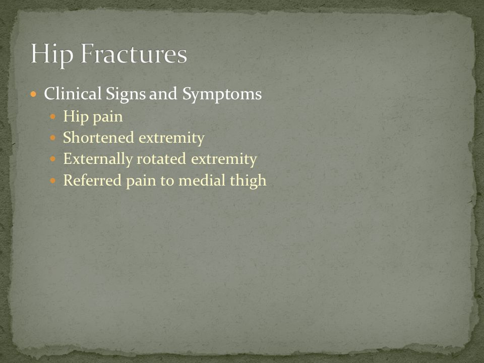 Clinical Signs and Symptoms Knee pain Limited range of motion Difficulty in weight bearing Joint effusion Knee giving out; chronic unstable knee