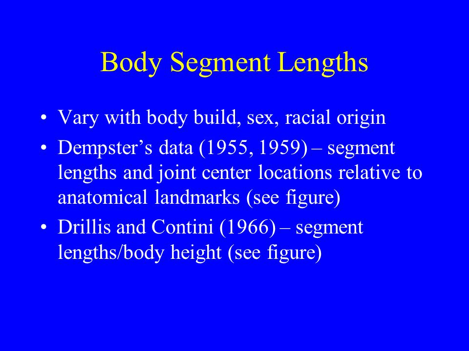 Body Segment Lengths Vary with body build, sex, racial origin Dempster's data (1955, 1959) – segment lengths and joint center locations relative to an