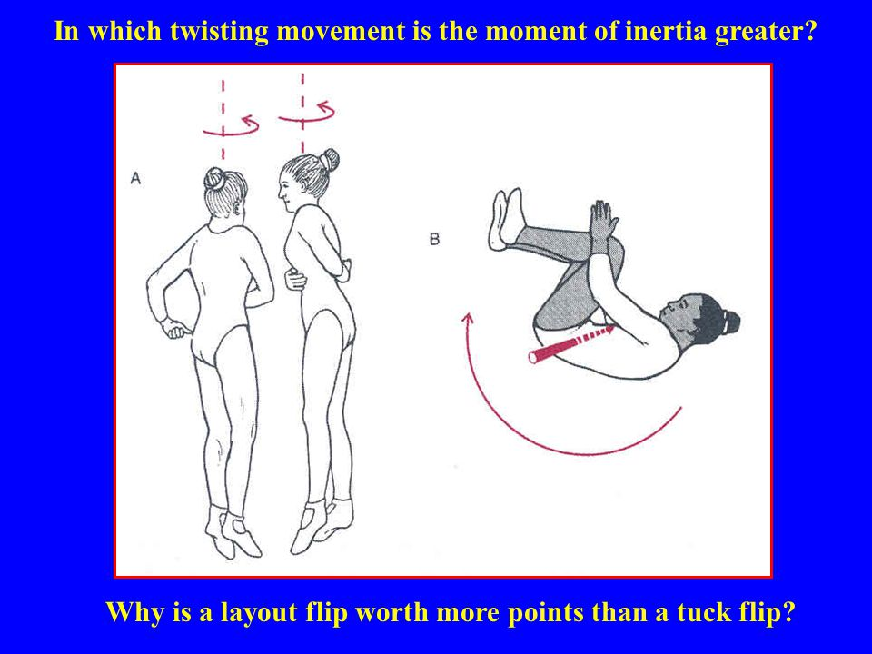 In which twisting movement is the moment of inertia greater? Why is a layout flip worth more points than a tuck flip?
