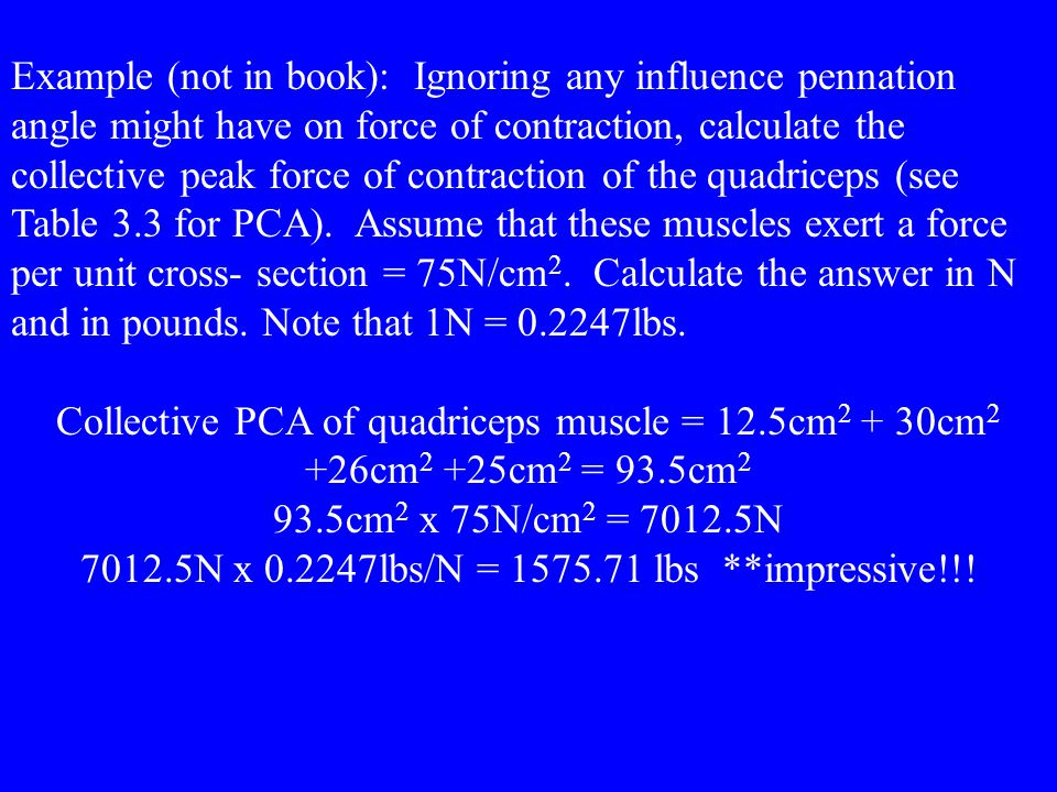 Example (not in book): Ignoring any influence pennation angle might have on force of contraction, calculate the collective peak force of contraction o