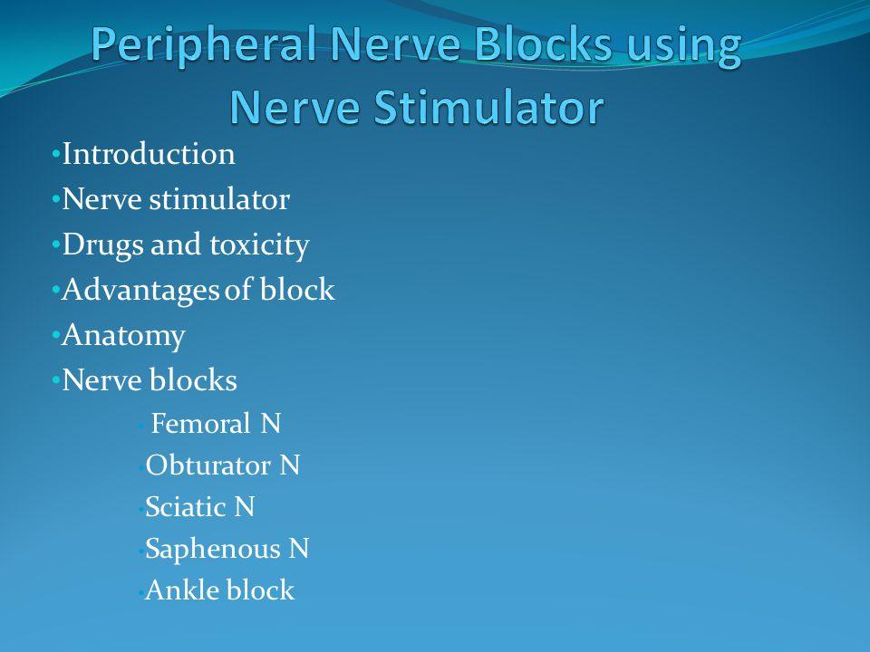 Nerve Stimulator Unipolar needles of varying length Flexible catheter Electrode