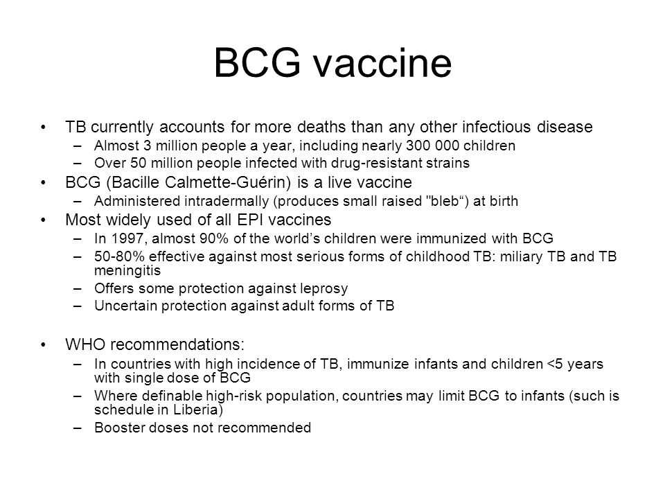 BCG vaccine TB currently accounts for more deaths than any other infectious disease –Almost 3 million people a year, including nearly 300 000 children