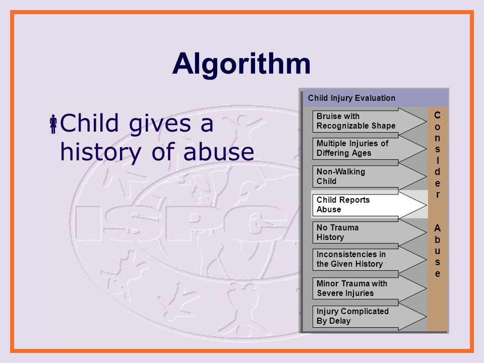 Algorithm  Child gives a history of abuse Child Injury Evaluation ConsIder AbuseConsIder Abuse Non-Walking Child No Trauma History Minor Trauma with Severe Injuries Inconsistencies in the Given History Injury Complicated By Delay Child Reports Abuse Multiple Injuries of Differing Ages Bruise with Recognizable Shape