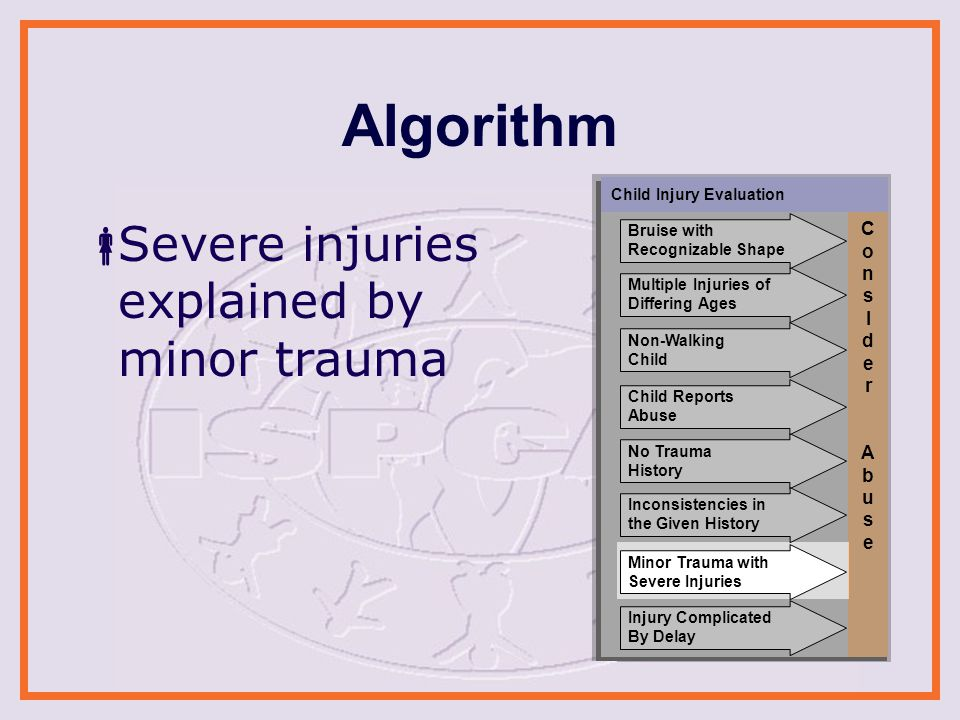 Algorithm  Severe injuries explained by minor trauma Child Injury Evaluation ConsIder AbuseConsIder Abuse Non-Walking Child No Trauma History Minor Trauma with Severe Injuries Inconsistencies in the Given History Injury Complicated By Delay Child Reports Abuse Multiple Injuries of Differing Ages Bruise with Recognizable Shape