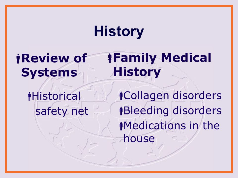 History  Review of Systems  Historical safety net  Family Medical History  Collagen disorders  Bleeding disorders  Medications in the house