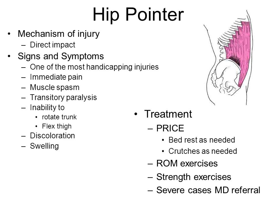 21-34 Hip Pointer Mechanism of injury –Direct impact Signs and Symptoms –One of the most handicapping injuries –Immediate pain –Muscle spasm –Transito