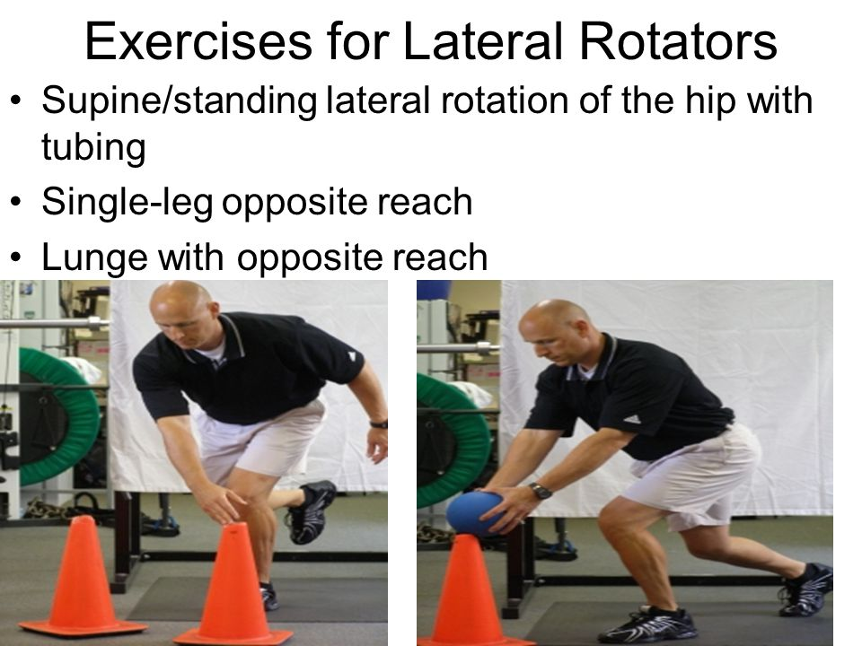 Exercises for Lateral Rotators Supine/standing lateral rotation of the hip with tubing Single-leg opposite reach Lunge with opposite reach