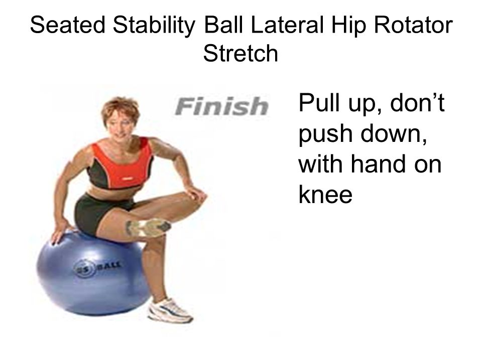 Pull up, don't push down, with hand on knee Seated Stability Ball Lateral Hip Rotator Stretch