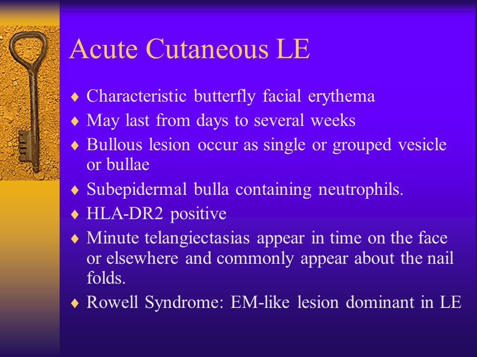 Acute Cutaneous LE  Characteristic butterfly facial erythema  May last from days to several weeks  Bullous lesion occur as single or grouped vesicl