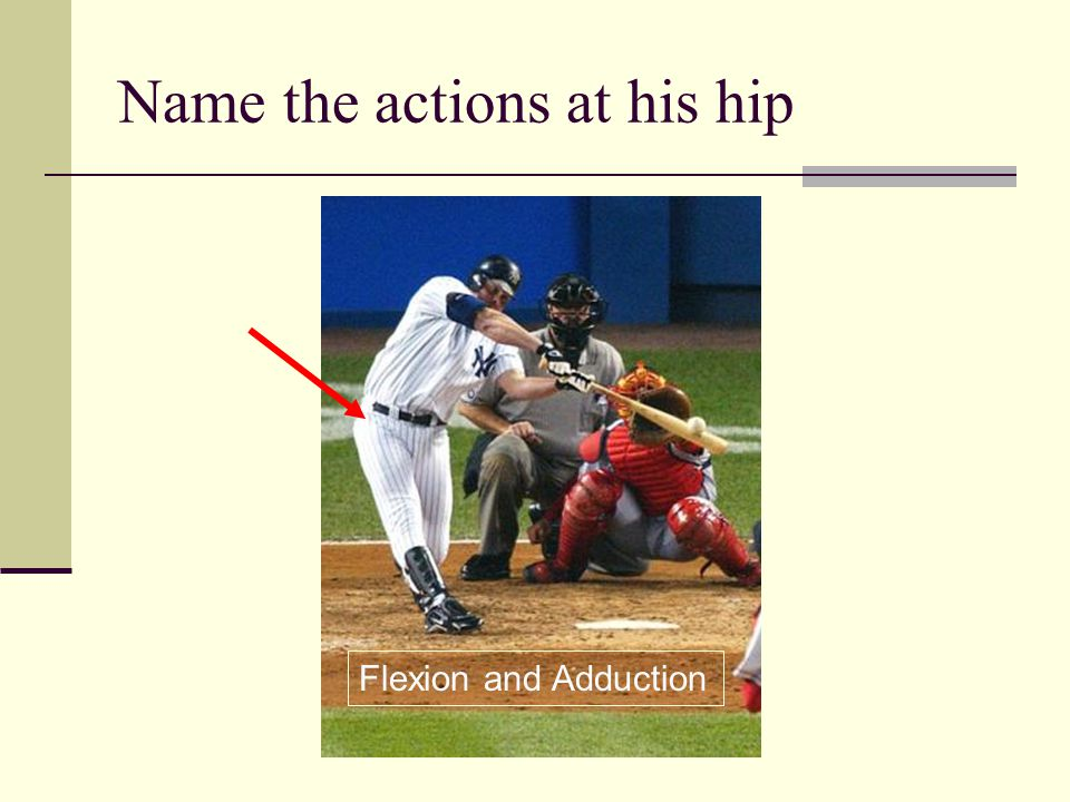 Name the actions at his hip Flexion and External Rotation and Abduction