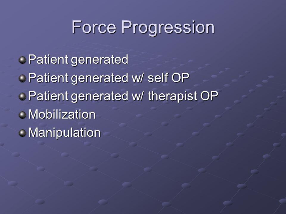 Force Progression Patient generated Patient generated w/ self OP Patient generated w/ therapist OP MobilizationManipulation